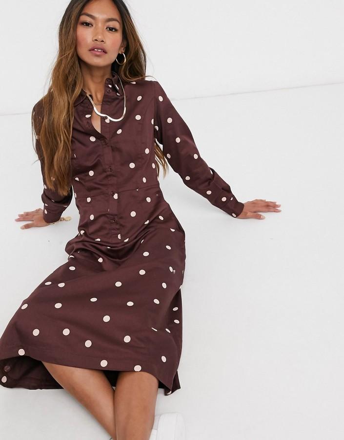 People Tree organic cotton maxi shirt dress in spot print