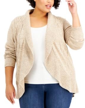 Karen Scott Plus Size Cocoon Open-Front Cardigan, Created for Macy's