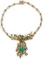 Mellerio Emerald cabochon pendant diamond 18k yellow gold necklace