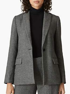 Jaeger Herringbone Tailored Jacket, Charcoal