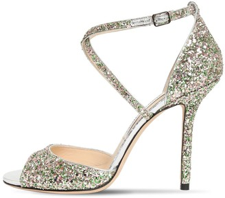 Jimmy Choo 100mm Emsy Glitter Sandals