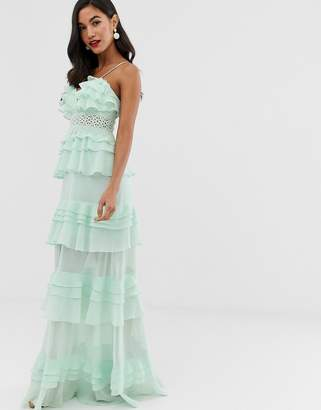 True Decadence premium frill layered cami maxi dress with lace insert in soft mint-Green