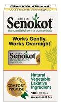 Senokot Natural Vegetable Laxative Ingredient, 100 tablets