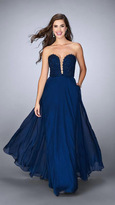 La Femme Strapless Scallop Neck Beaded and Laced Chiffon Dress 23970