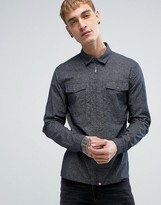 Pretty Green Mayflower Printed Shirt Zip Front Slim Fit in Navy