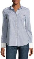 Derek Lam 10 Crosby Striped & Solid Button-Down Shirt, Blue Pattern
