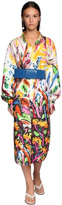 Marni Graffiti Print Cotton Poplin Shirt Dress