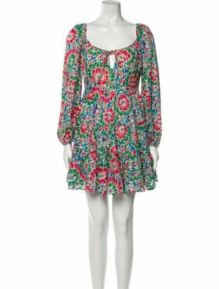 Rixo Floral Print Mini Dress Green Floral Print Mini Dress