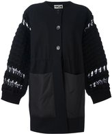 Hache knit sleeve buttone-up coat
