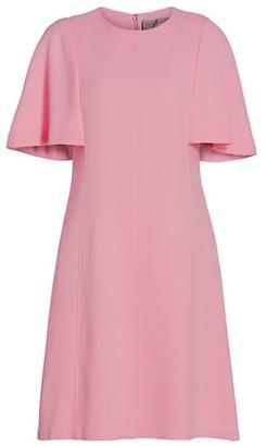 Lela Rose Flutter-Sleeve Crepe Tunic Dress