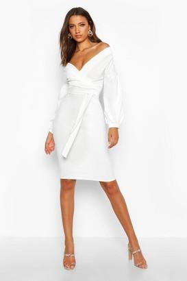 boohoo Tall Off The Shoulder Wrap Midi Bodycon Dress