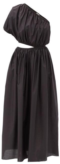 Matteau The One Shoulder Cutout Cotton-poplin Dress - Black