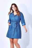 NEW Cordelia St Womens Short Dresses Spot Shirt Dress Denim