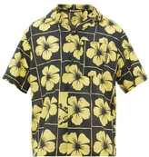 Palm Angels Damier Floral-print Cotton-poplin Shirt - Mens - Black Yellow