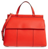 Tory Burch Block T Leather Top Handle Satchel - Red