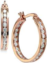 Giani Bernini Cubic Zirconia Inside Out Hoop Earrings in 18k Rose Gold-Plated Sterling Silver, Created for Macy's