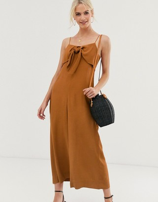 And other stories & relaxed tie-front jumpsuit in rust-Brown