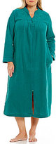 Miss Elaine Plus Embroidered Brushed-Back Terry Tasseled Zip Robe