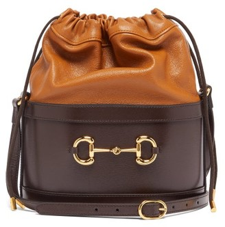 Gucci 1955 Horsebit Drawstring Leather Bucket Bag - Brown Multi