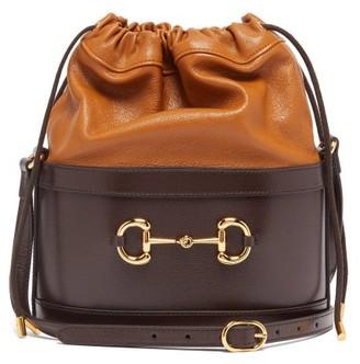 Gucci 1955 Horsebit Drawstring Leather Bucket Bag - Womens - Brown Multi