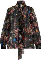 Dolce & Gabbana Pussy-bow Printed Silk-chiffon Blouse - Black