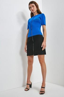 Karen Millen Short Sleeve Zip Col Block Knitted Dress