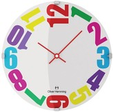 "Oliver Hemming Wall Clock with Colorful Bold Sideways Number Dial (12"")"