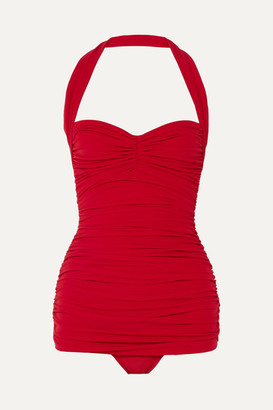 Norma Kamali Bill Mio Ruched Halterneck Swimsuit - Red