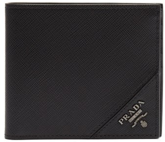 345855a0a6 Bi Fold Saffiano Leather Wallet - Mens - Black