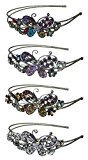 B.ella Set of 4 Crystal Butterfly Headbands Design of a Butterfly Flanked by Sparkling Stones U86121-0124-4mltc
