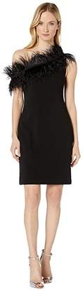 Vince Camuto Sleeveless Asymmetrical One-Shoulder Feather Trim Dress (Rich Black) Women's Dress