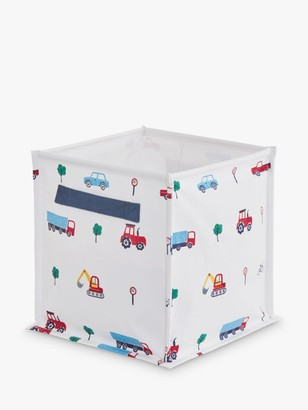 Great Little Trading Co On The Road Canvas Storage Cube Box, White/Multi