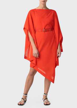 Akris Short Caftan Dress with Asymmetric Hem