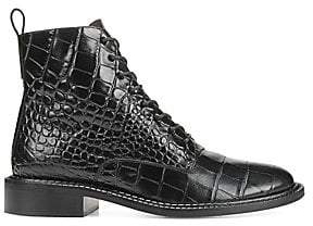 Vince Women's Cabria Crocodile-Embossed Leather Combat Boots