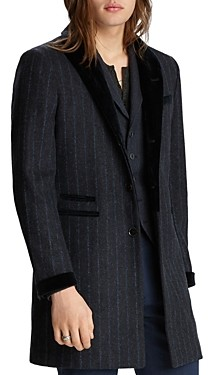 John Varvatos Collection Velvet Trim Pinstriped Regular Fit Coat