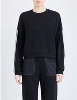 Monreal London Stripe-detail stretch-jersey sweatshirt