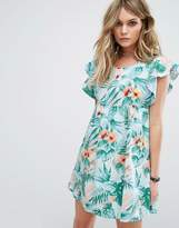 Motel Smock Dress In Hawaiian Floral