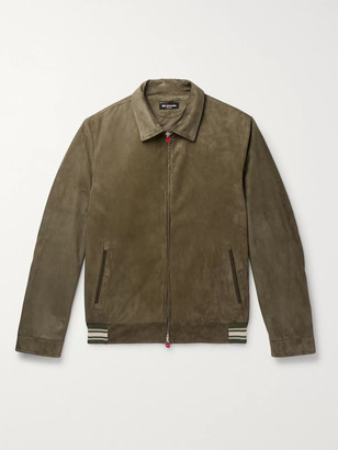 Kiton Slim-Fit Suede Bomber Jacket - Men - Green