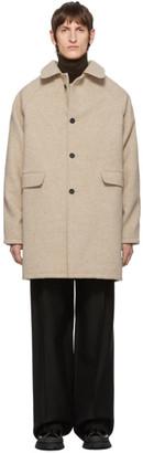 Kassl Editions Beige Wool Above The Knee Coat