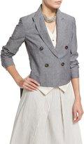 Brunello Cucinelli High-Low Double-Breasted Blazer w/Vest