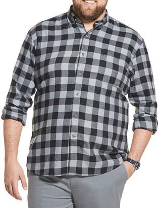 Izod Big and Tall Flannel Plaid Button-Down Shirt