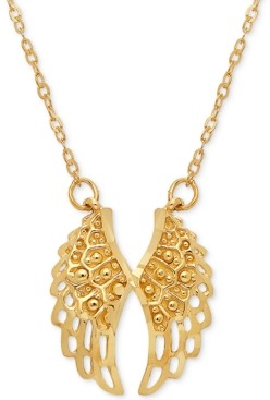 """Italian Gold Angel Wing 17"""" Pendant Necklace in 10k Gold"""
