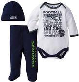 Baby Seattle Seahawks 3-Piece Bodysuit, Pants & Cap Set
