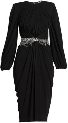 Alexander McQueen Crystal Belted Ruched Jersey Dress