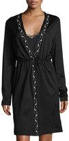 La Perla Liaison Embroidered Short Robe, Black