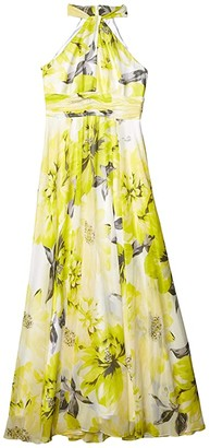 Calvin Klein Floral Knot Neck Gown with Keyhole (Pear Multi) Women's Dress