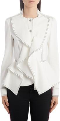 Alexander McQueen Ruffle Trim Denim Peplum Jacket
