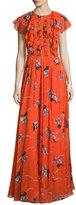 Sachin + Babi Cap-Sleeve Floral-Print Gown W/Ruffles, Coral