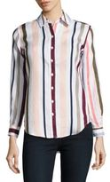 Lord & Taylor Petite Striped Linen Shirt
