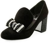 Rene Caovilla Velvet Embellished Bow Loafer Pump, Black/Multi